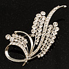 Silver Tone Twirl Diamante Leaf Brooch
