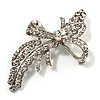 Asymmetrical Crystal Bow Brooch (Silver & Clear)