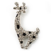 X-mas Reindeer Crystal Brooch (Silver, Clear & Black)