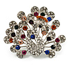 Multicoloured Crystal Peacock Open Tail Brooch (Silver Tone)