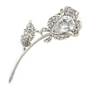 Exquisite CZ Rose Brooch (Silver Tone)