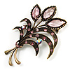 Vintage Orchid Crystal Floral Brooch (Bronze Tone)