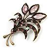 Vintage Orchid Crystal Floral Brooch (Bronze Tone)