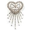 Bridal Crystal Heart Tassel Brooch (Silver Tone)
