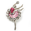 Silver Tone Crystal Dancing Ballerina Brooch (Light Pink)