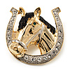 Horse Head &amp; Horse Shoe Crystal Brooch (Gold &amp; Silver Tone)