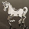 Rhodium Plated Galloping Horse Brooch