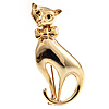 Polished Gold Tone Sitting Cat Brooch