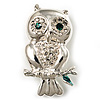 Silver Tone Crystal Owl Brooch