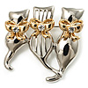 3 Sitting Cat With Gold Bow Brooch (Silver Tone)