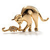 Gold Tone Cat &amp; Mouse Brooch