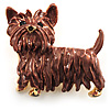 Chocolate Brown Enamel Puppy Dog Brooch (Gold Tone)