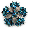 Light Blue Crystal Flower Brooch (Silver Tone)