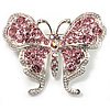 Pink Swarovski Crystal Butterfly Brooch (Silver Tone)