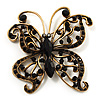 Vintage Jet Black Crystal Butterfly Brooch (Antique Gold)