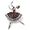 Purple Crystal Ballerina Brooch (Silver Tone)