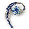 Fancy Sky Blue Crystal Daisy Brooch (Silver Tone)