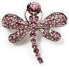 Small Pink Crystal Butterfly Brooch (Silver Tone)