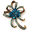 Azure Crystal Bow Corsage Brooch (Gold Tone)