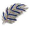 Statement Crystal Leaf Brooch (Clear & Blue)