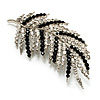 Statement Crystal Leaf Brooch (Black & Clear)