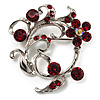 Burgundy Red Crystal Floral Wreath Brooch (Silver Tone)