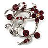 Burgundy Red Crystal Floral Wreath Brooch (Silver Tone)