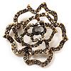 Stunning Jet Black Crystal Rose Brooch (Antique Gold Finish)