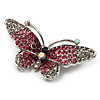 Pink Crystal Butterfly Brooch (Silver Tone)