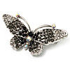 Black Crystal Butterfly Brooch (Silver Tone)