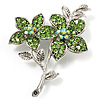 Light Green Swarovski Crystal Flower Brooch (Silver Tone)