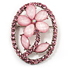 Daisy In The Oval Frame Pale Pink Crystal Brooch (Silver Tone)