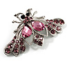 Pink Crystal Moth Brooch (Silver Tone)