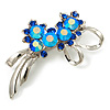 Rhodium Plated AB Crystal Floral Brooch (Navy&Sky Blue)