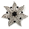 Delicate Black Diamante Filigree Floral Brooch (Silver Tone)