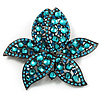 Large Azure Diamante Floral Brooch/ Pendant (Gun Metal Finish)