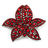 Large Ruby Red Diamante Floral Brooch/ Pendant (Gun Metal Finish)