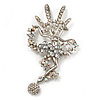 Gigantic 'Brazilian Carnival Dancer' Crystal Brooch (Silver & Clear)