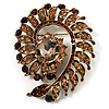 Oversized Amber Coloured Crystal Twirl Brooch/ Pendant (Antique Gold Metal Finish)