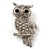 Clear Diamante Owl Brooch/ Pendant (Silver Tone)