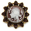 Vintage Amber Coloured Crystal Cameo Brooch (Antique Gold & Beige)