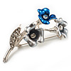 Delicate Enamel Bell-flower Brooch (Grey, Blue & Metallic Silver)
