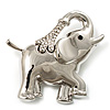 Rhodium Plated Crystal Elephant Brooch