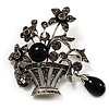 Vintage Flower Basket Brooch (Burn Silver Finish)