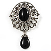Black Diamante Precious Heirloom Charm Brooch (Burn Silver Tone)