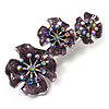 Purple Enamel Diamante Flower Brooch (Silver Tone)
