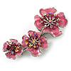Pink Enamel Diamante Flower Brooch (Silver Tone)