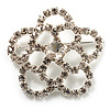 Fancy Clear Crystal Rose Brooch (Silver Tone)