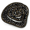 Black Vintage Crystal Rose Brooch (Gun Metal)