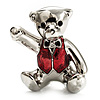 Cute Teddy Bear Brooch (Rhodium Plated & Red)